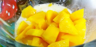 mango in coconut milk in blender