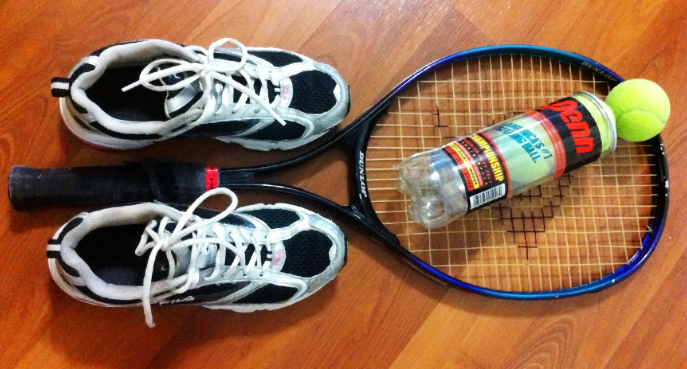 tennis racket balls sneakers