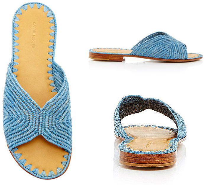 Carrie Forbes Turquoise Salon Slip On Sandals
