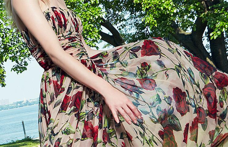Dolce & Gabbana Silk Strapless Floor Length Dress