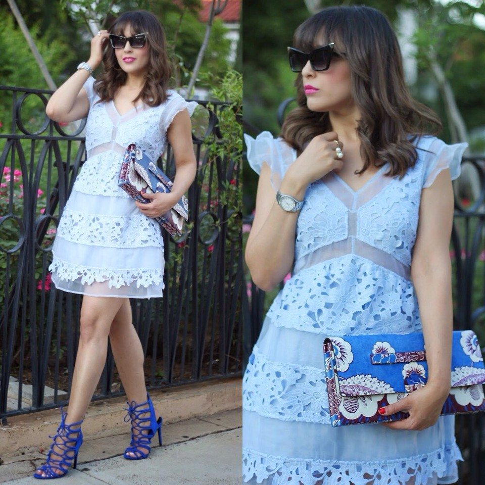 Dominican Fashion blogger Jewelry designer Laura Reynoso wearing powder blue dress with blue heels