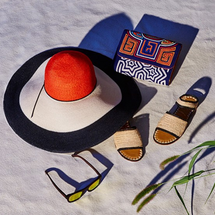 Eugenia Kim color block sunny hat Carrie Forbes sandals