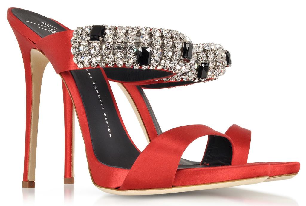 Giuseppe Zanotti Flame Red Satin Mule crystal embellishments
