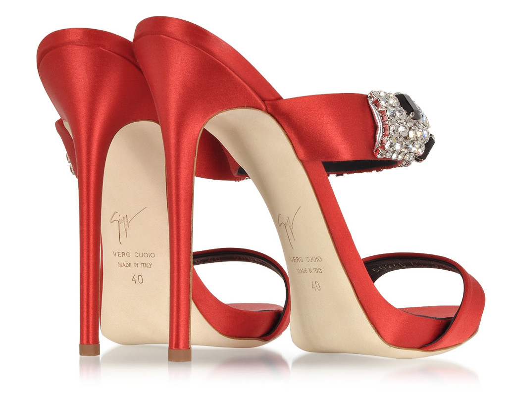 Giuseppe Zanotti Flame Red Satin Mule crystal embellishments back view
