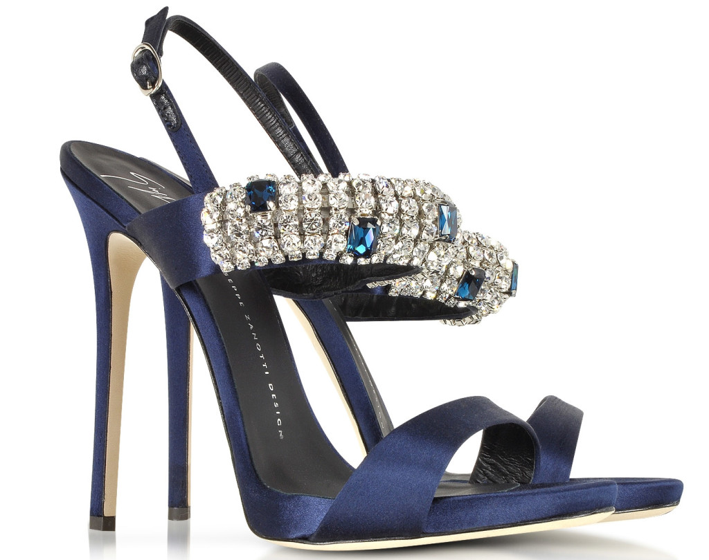 Giuseppe Zanotti Navy Satin Crystal High Heel Sandal