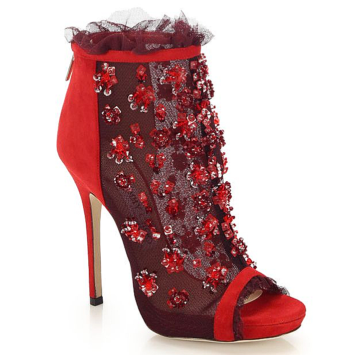 Jimmy Choo red Keri Embroidered Mesh Suede Booties