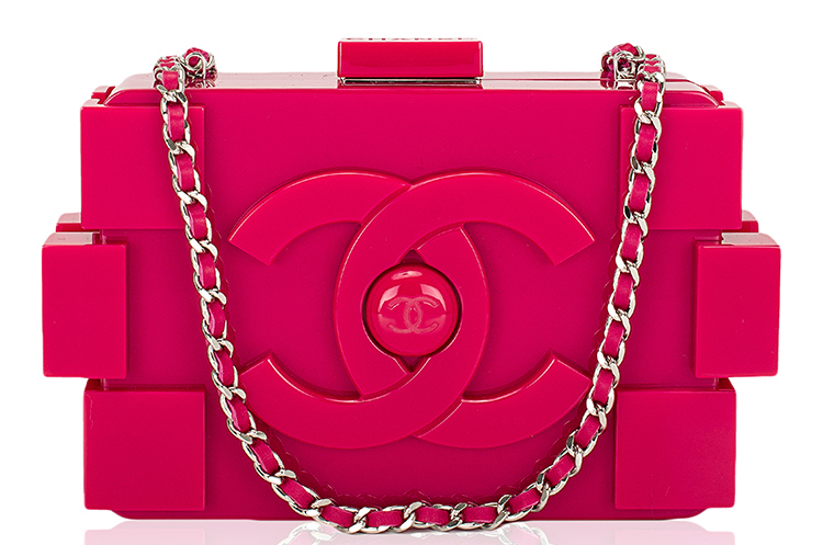 Madison Avenue Couture Chanel Fuchsia Pink Lego Clutch Boy Bag