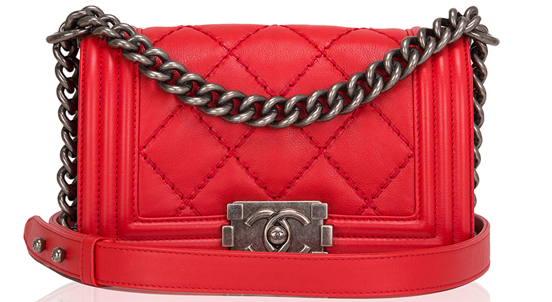 Madison Avenue Couture Chanel Red Quilted Calfskin Small Double Quilt Boy Bag
