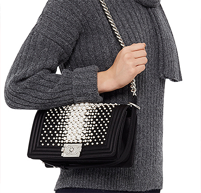 Madison Avenue Couture Limited Edition Chanel Black Pearl Medium Boy Bag
