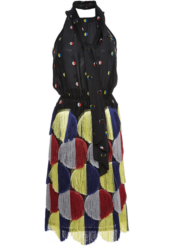 Marco De Vincezo silk multicolor polka dots fringe self-tie bow dress
