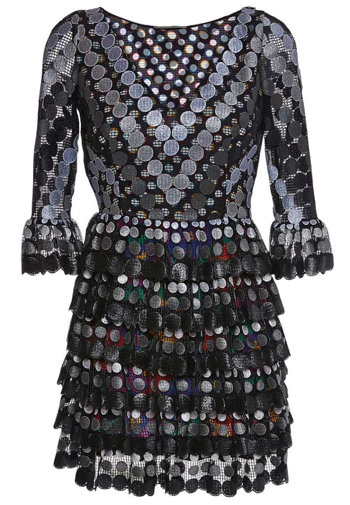Marco de Vincenzo multicolor print dress metallic dots overlay