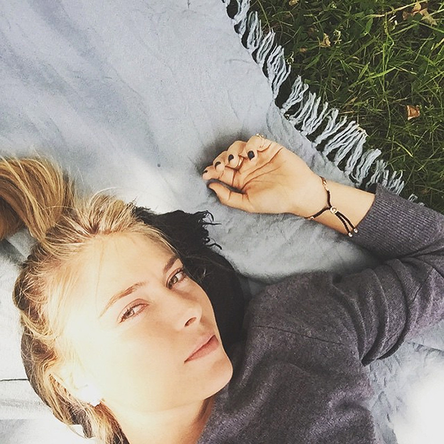 Maria Sharapova Instagram pic lying on grass in Richmond Park in London during Wimbledon