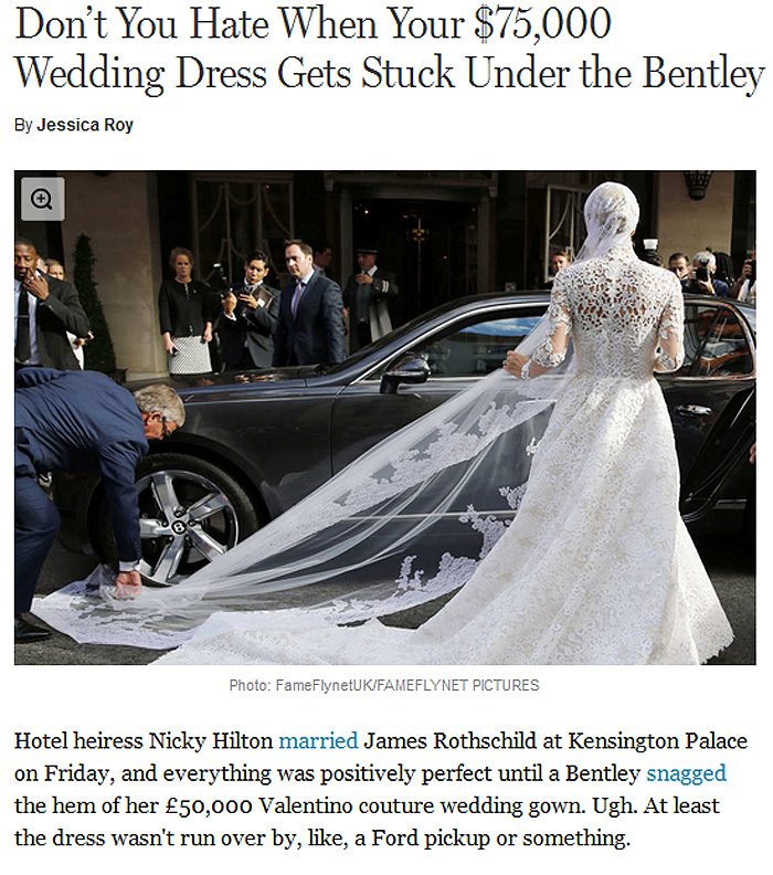 Nicky Hilton's wedding veil gets caught in the wheel of a Bentley