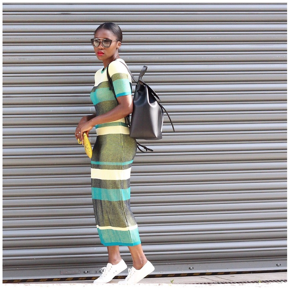 Ranti Onayemi Ranti In Review Blogspot wearing ASOS Knitted Midi Dress In Rib In Blocked Stripe