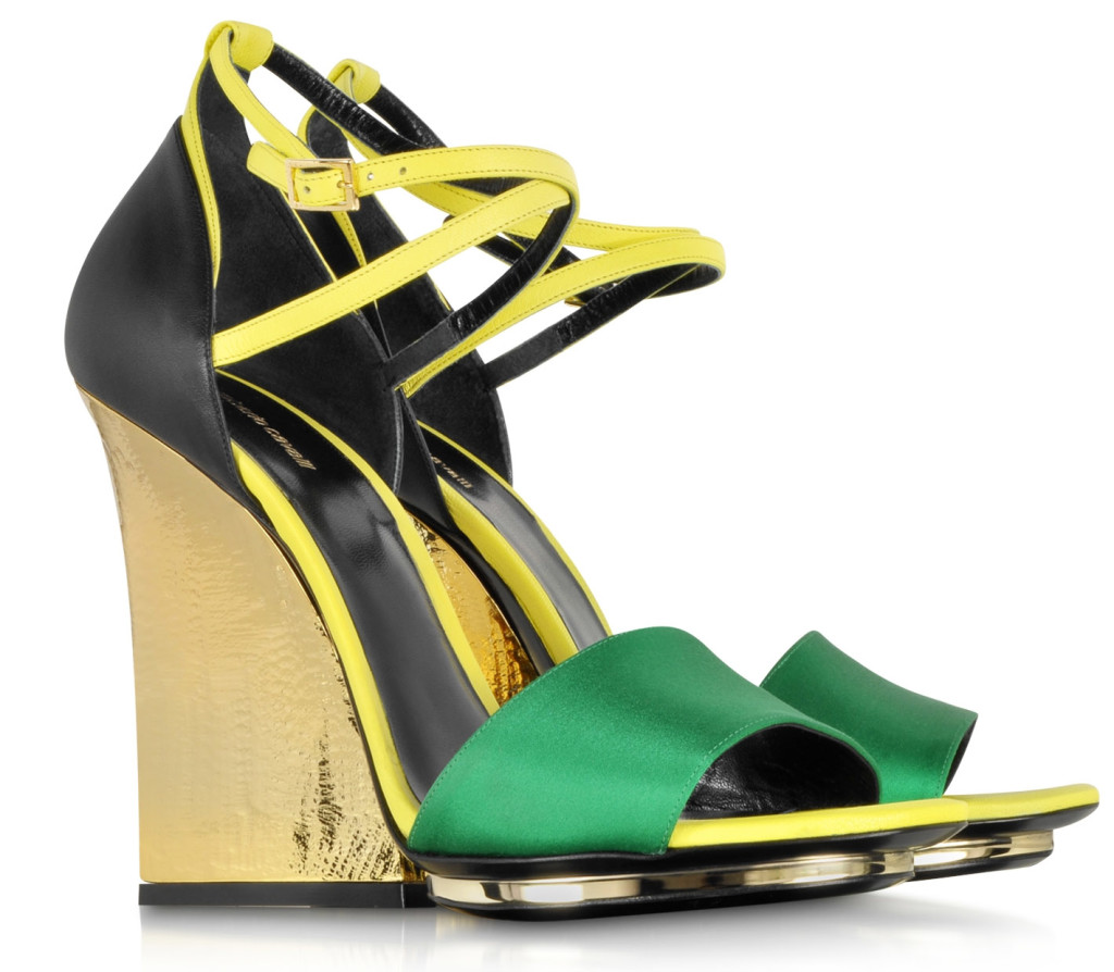 Roberto Cavalli Satin and Leather Wedge Sandal