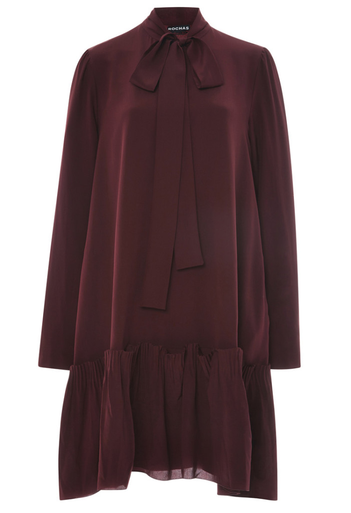 Rochas Burgundy Silk Crepe Bow Neck Dress