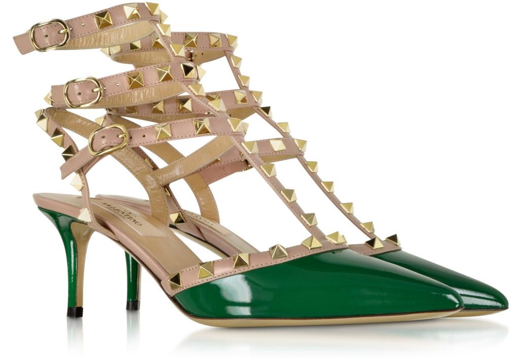 Valentino Rockstud Smeraldo Patent Leather Ankle Strap Pump