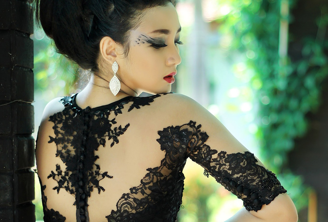 beautiful woman black see through lace dress