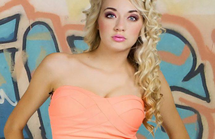 curly blonde girl graffiti strapless dres cr