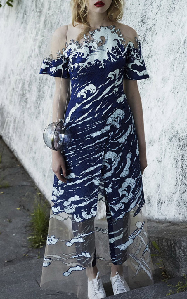 Alena Akhmadullina Short Sleeve Illusion Wave Dress