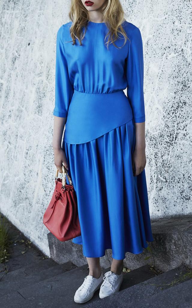 Alena Akhmadullina Silk Pleated Midi Dress