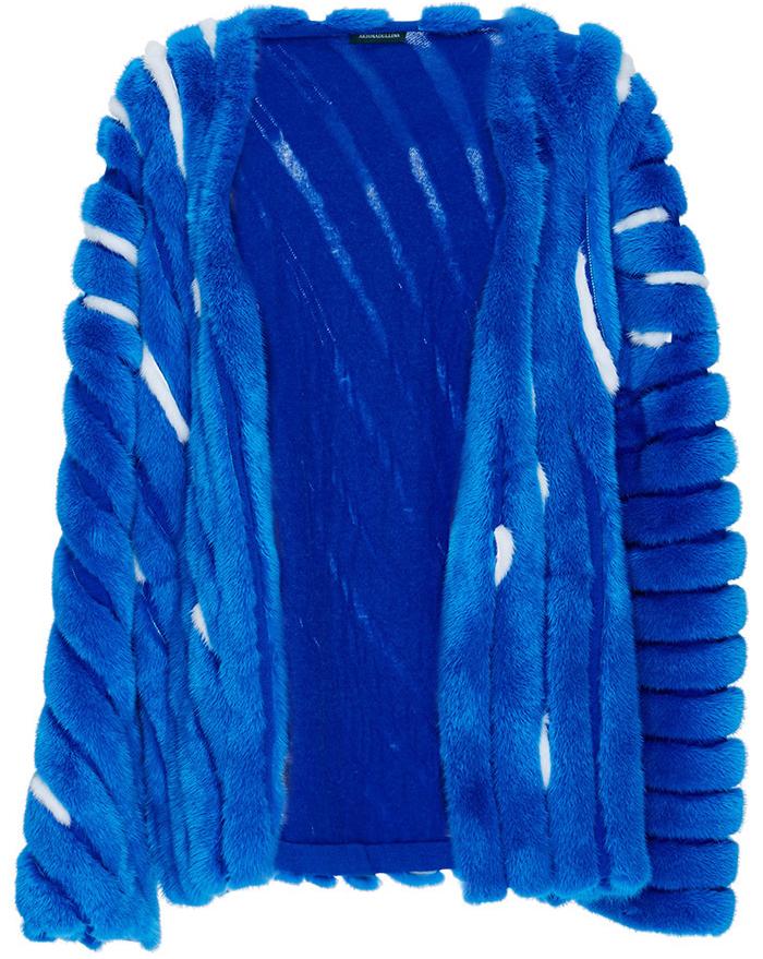 Alena Akhmadullina bright blue white Striped Mink Coat