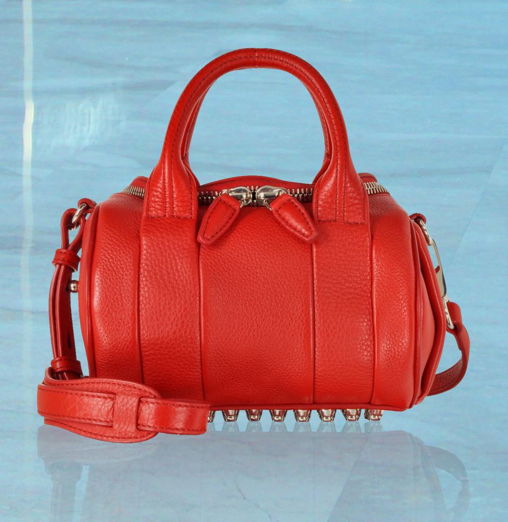 Alexander Wang Mini Rockie Cult Red Pebbled Leather Satchel w-Rhodium Studs