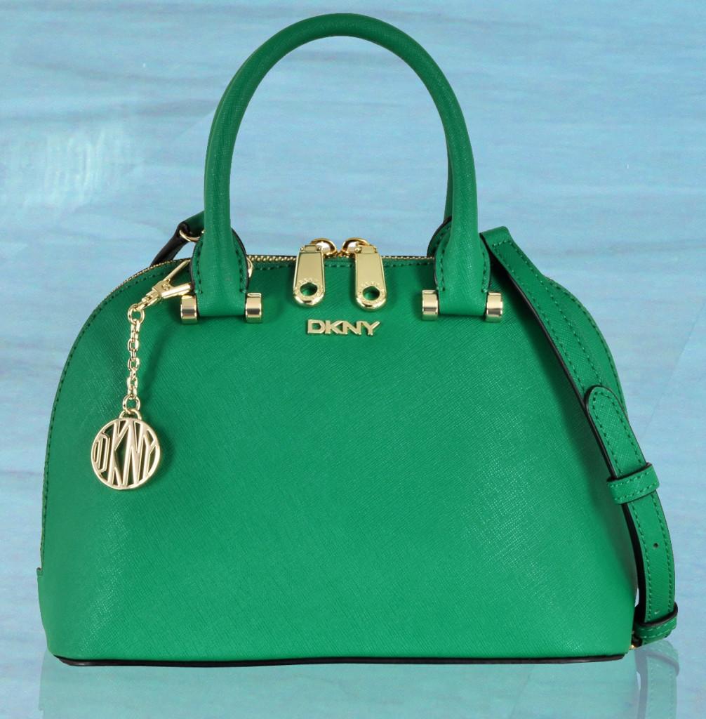 DKNY Bryant Park Grass Green Saffiano Leather Mini Round Crossbody Bag
