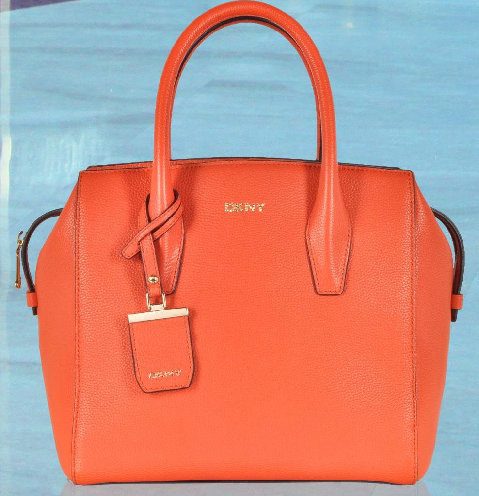 DKNY Chelsea Orange Leather Satchel