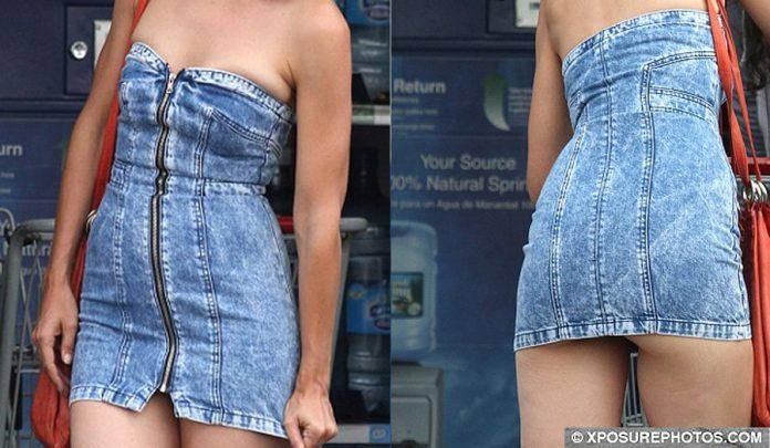 Katie Holmes strapless denim mini dress