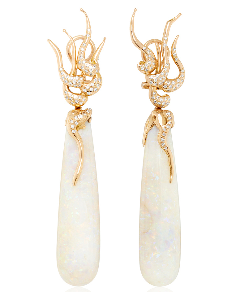 Lucifer Vir Honestus One of a Kind opal rose gold drop earrings