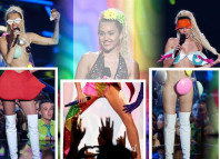 Miley Cyrus 2015 MTV video music awards VMAs style fashion hosting outfits