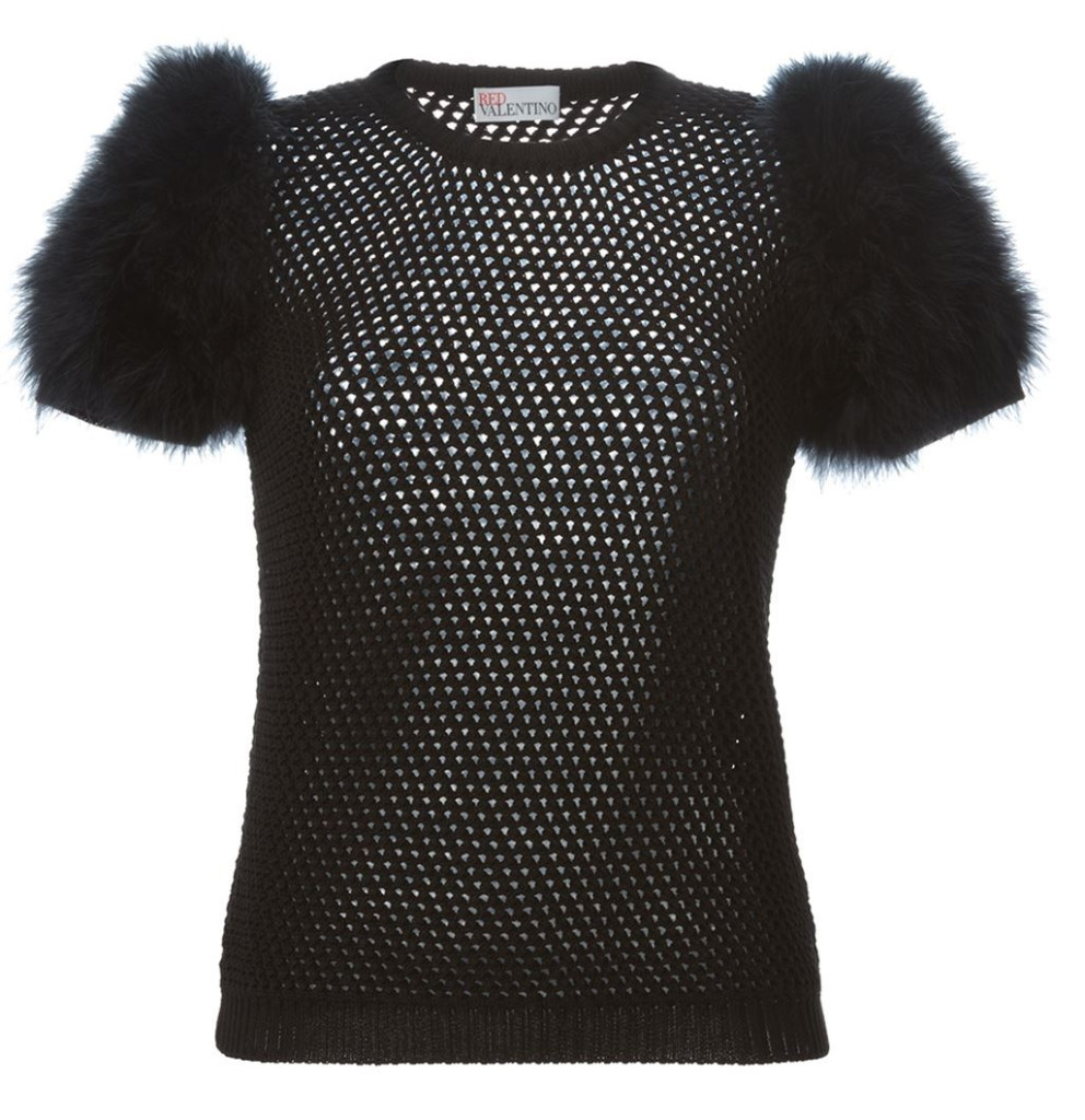 Red Valentino feather sleeve open knit top