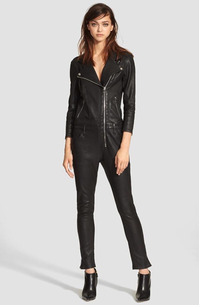 RtA Zouzou Lambskin Leather Moto Jumpsuit
