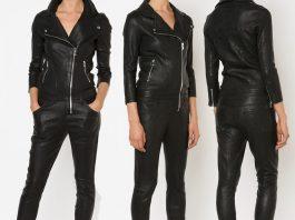 RtA Zouzou Lambskin black Leather Moto Jumpsuit