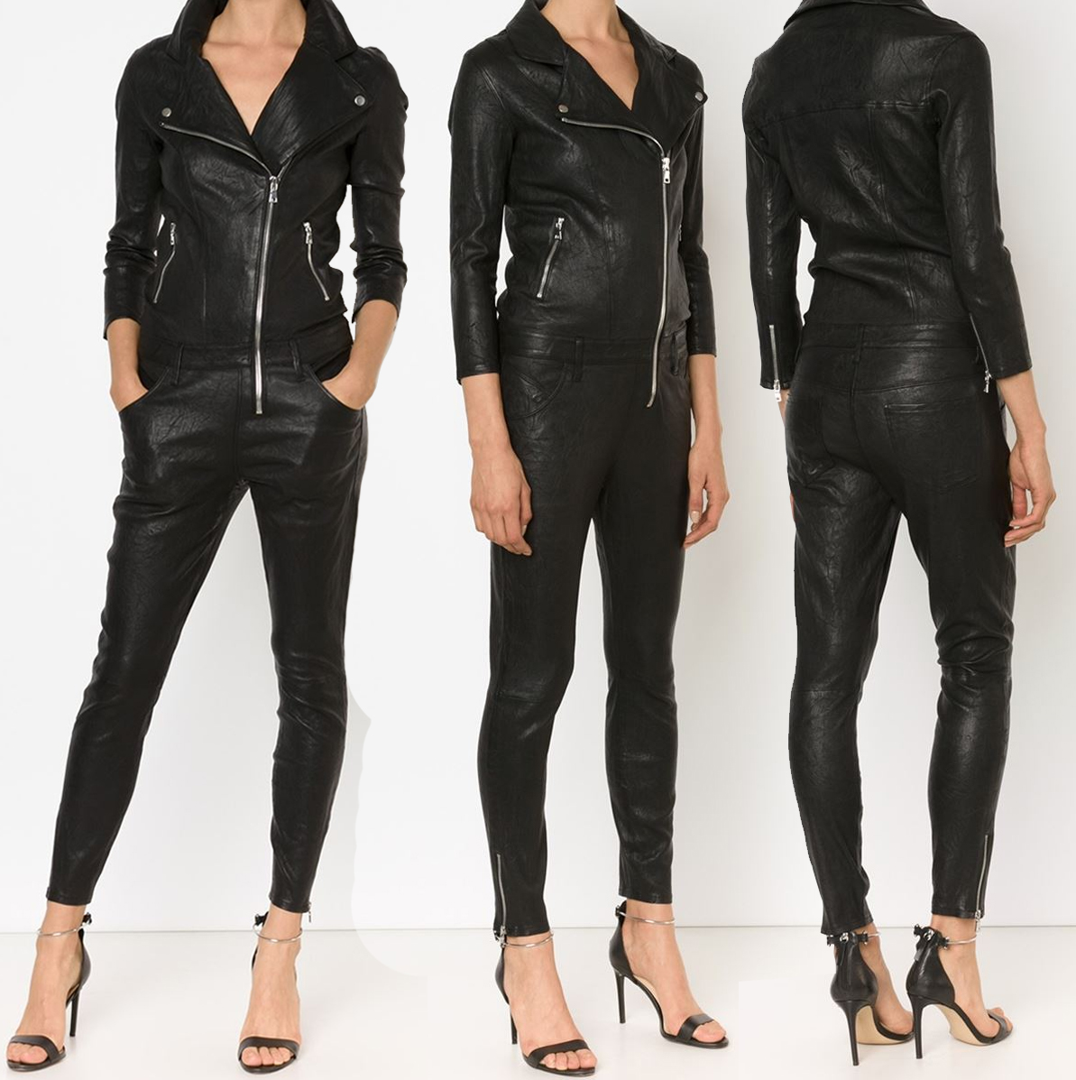 RtA Zouzou Lambskin black Leather Moto Jumpsuit