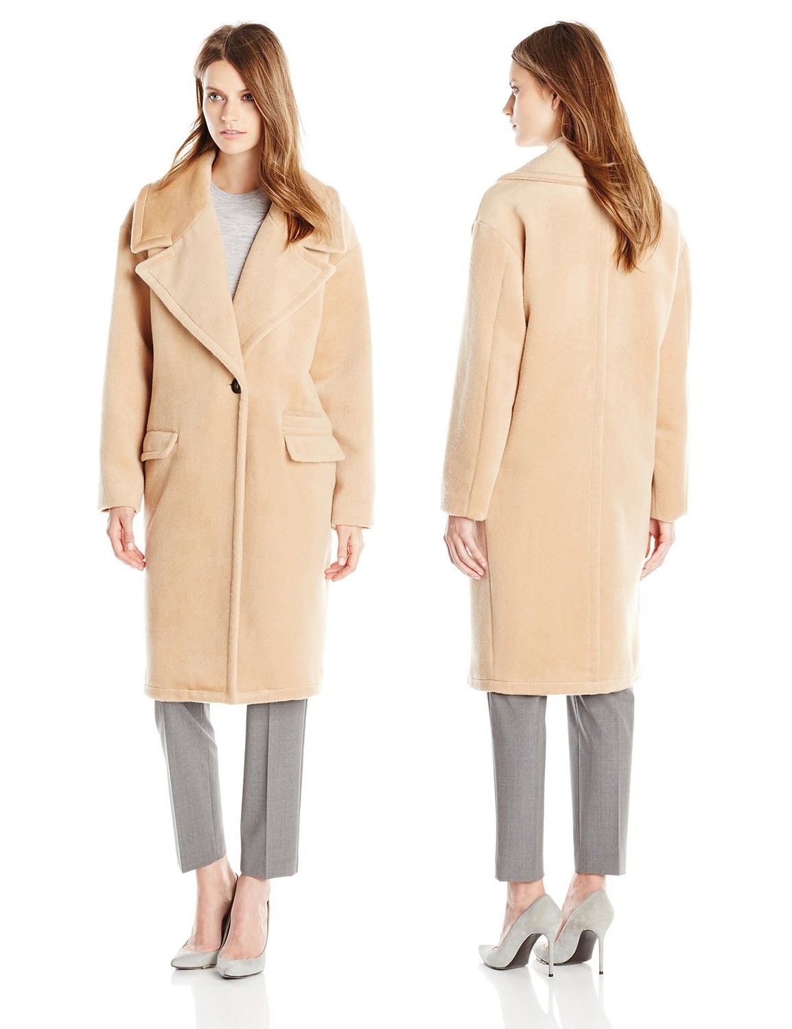 Badgley Mischka Womens Verona Wool-Blend Coat