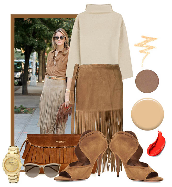 Brown PAROSH suede fringe skirt Isabel Marant cream brown turtleneck sweater Burberry prorsum fringe suede clutch brown Aquazurra heels