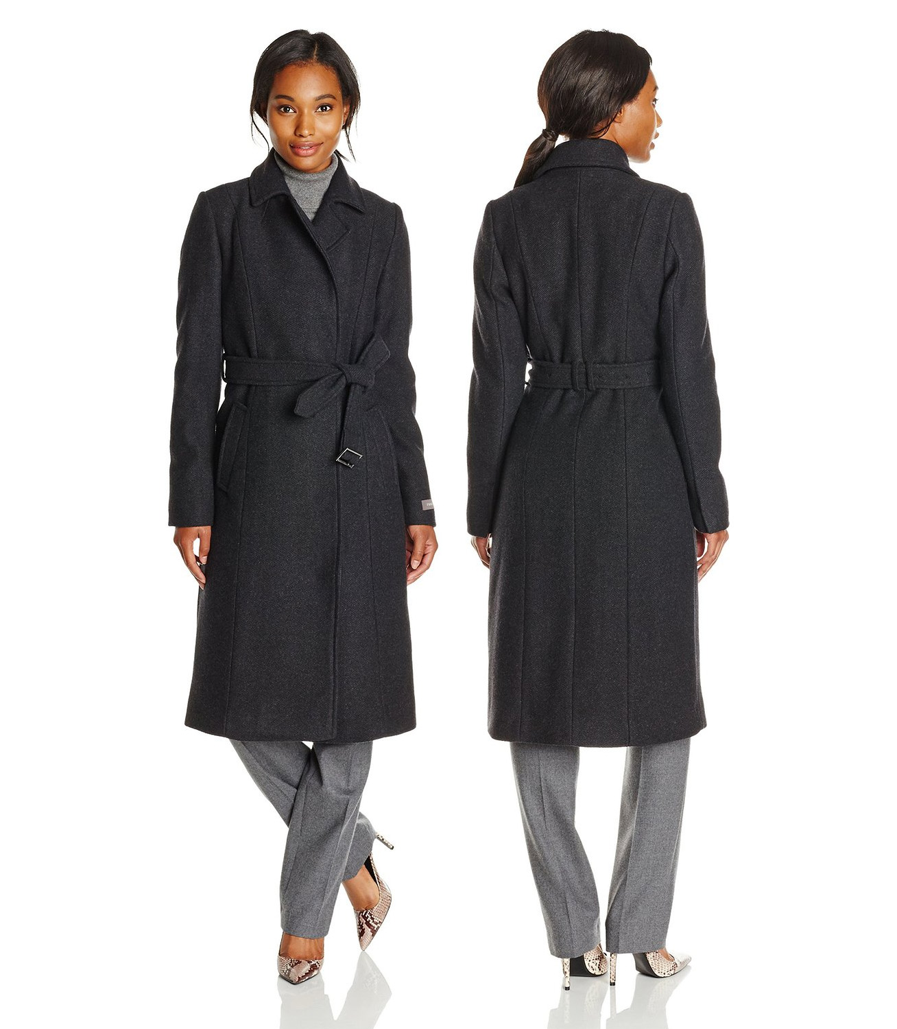 Cole Haan Womens Long Coat with Belt