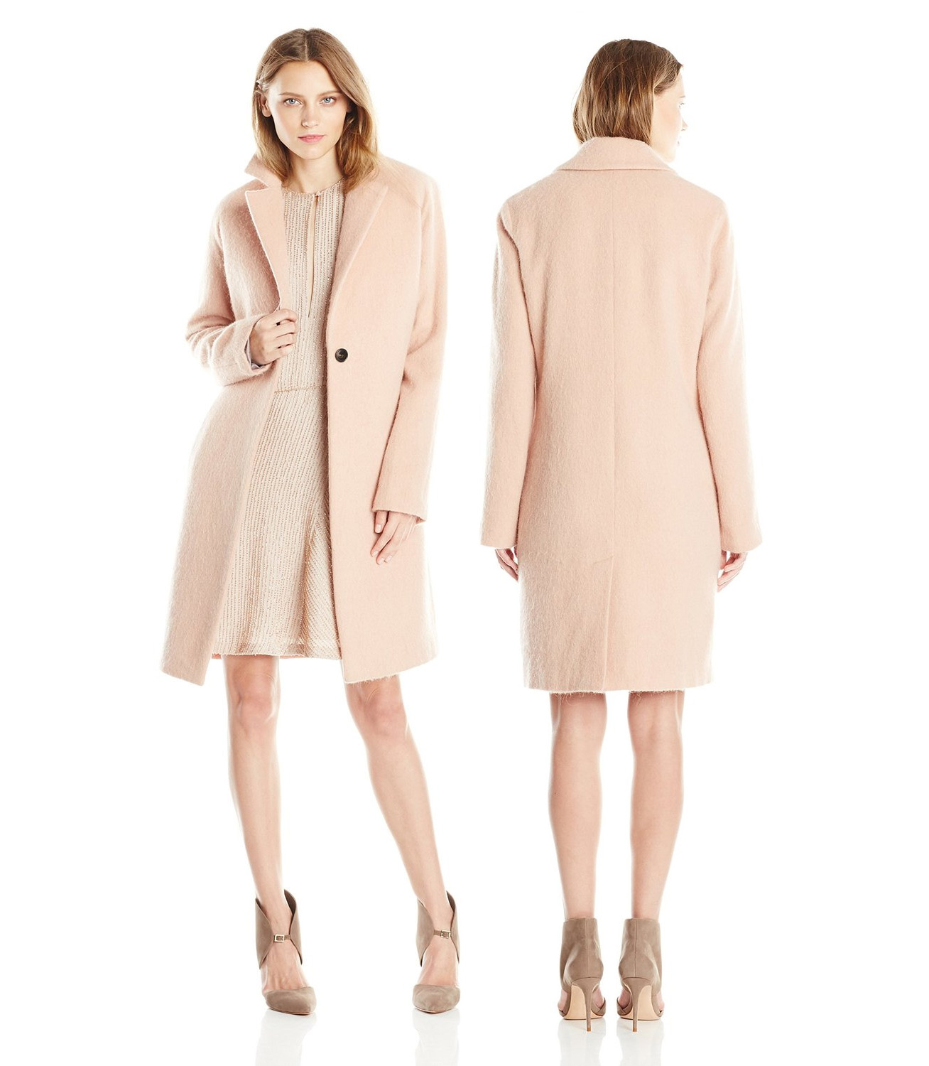 HALSTON HERITAGE Womens Long-Sleeve Slim Coat