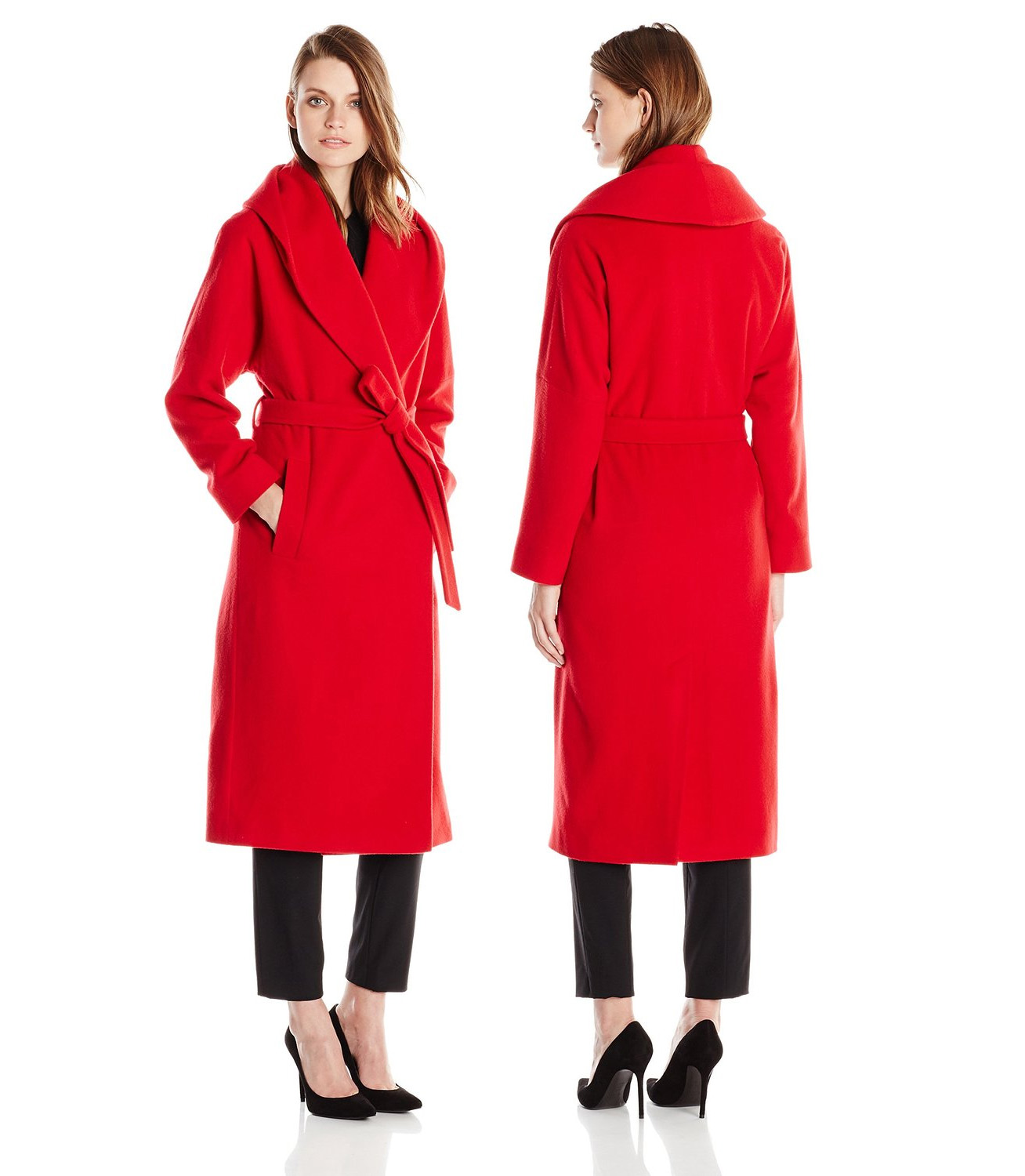 Helene Berman Womens Shawl-Collar Long Wrap Coat red trench coat winter