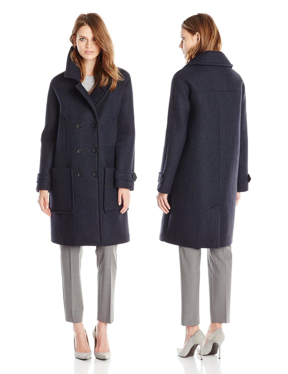 Tommy Hilfiger Womens Wool-Blend Neoprene Fashion Coat