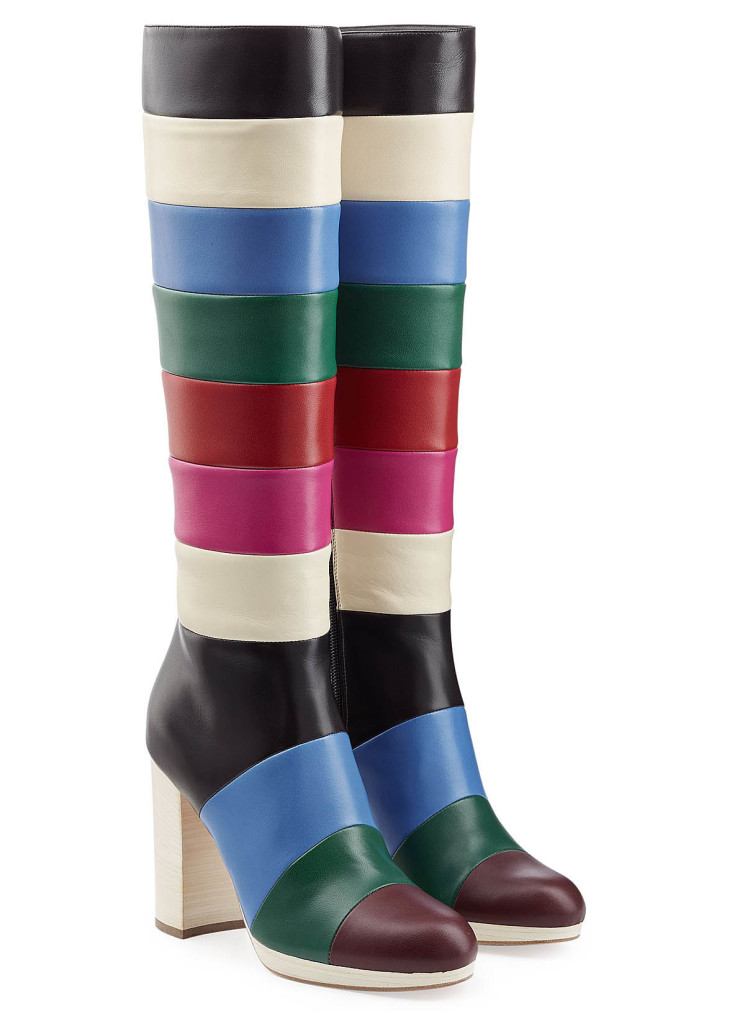 Valentino color block knee high boots
