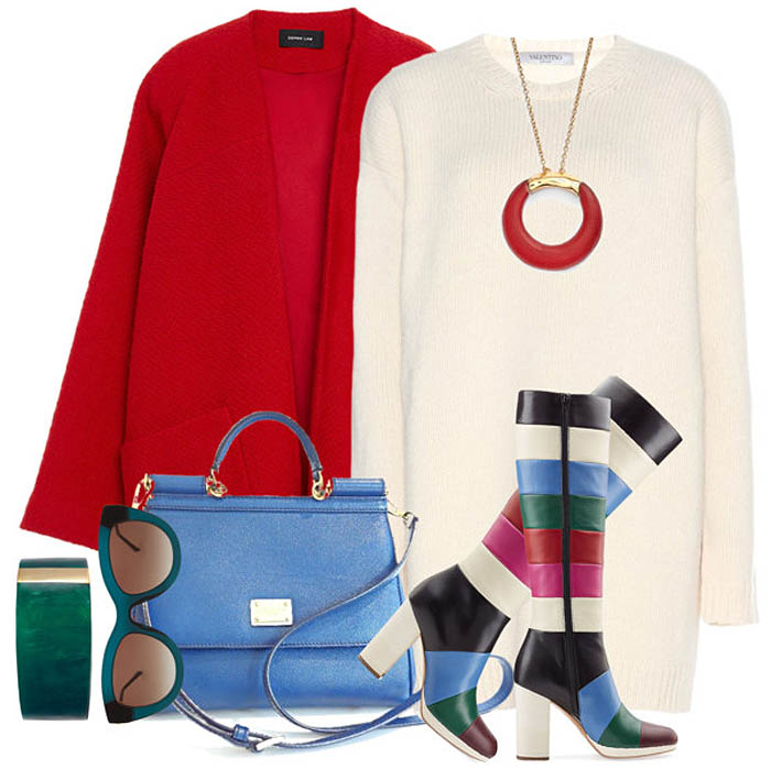 Valentino color block knee high boots outfit idea ivory white sweater dress red coat