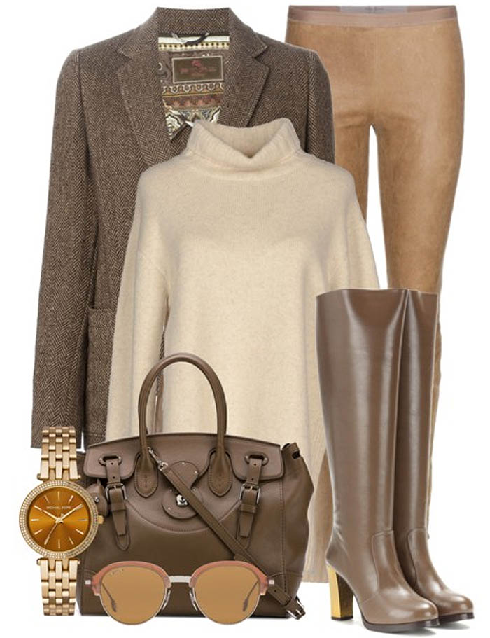 brown stella mccartney knee high boots brown blazer etro brown rick owens leather leggings ralph lauren bag celine sweater