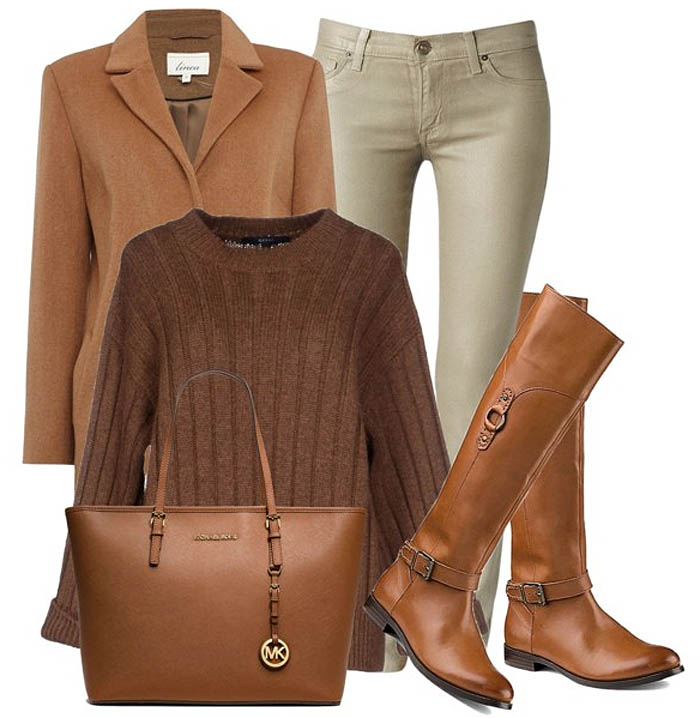 brown tory burch knee high boots brown sweater khaki brown skinny jeans brown leather bag brown coat