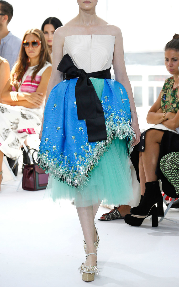 Delpozo Silk Moire Overskirt Dress