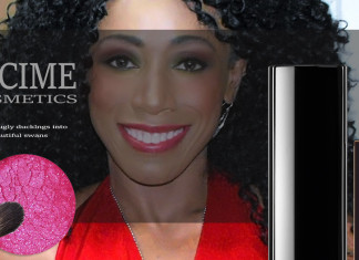 NICIME COSMETICS BANNER smiling woman makeup eyeshadow blush curly red lipstick black blfltr
