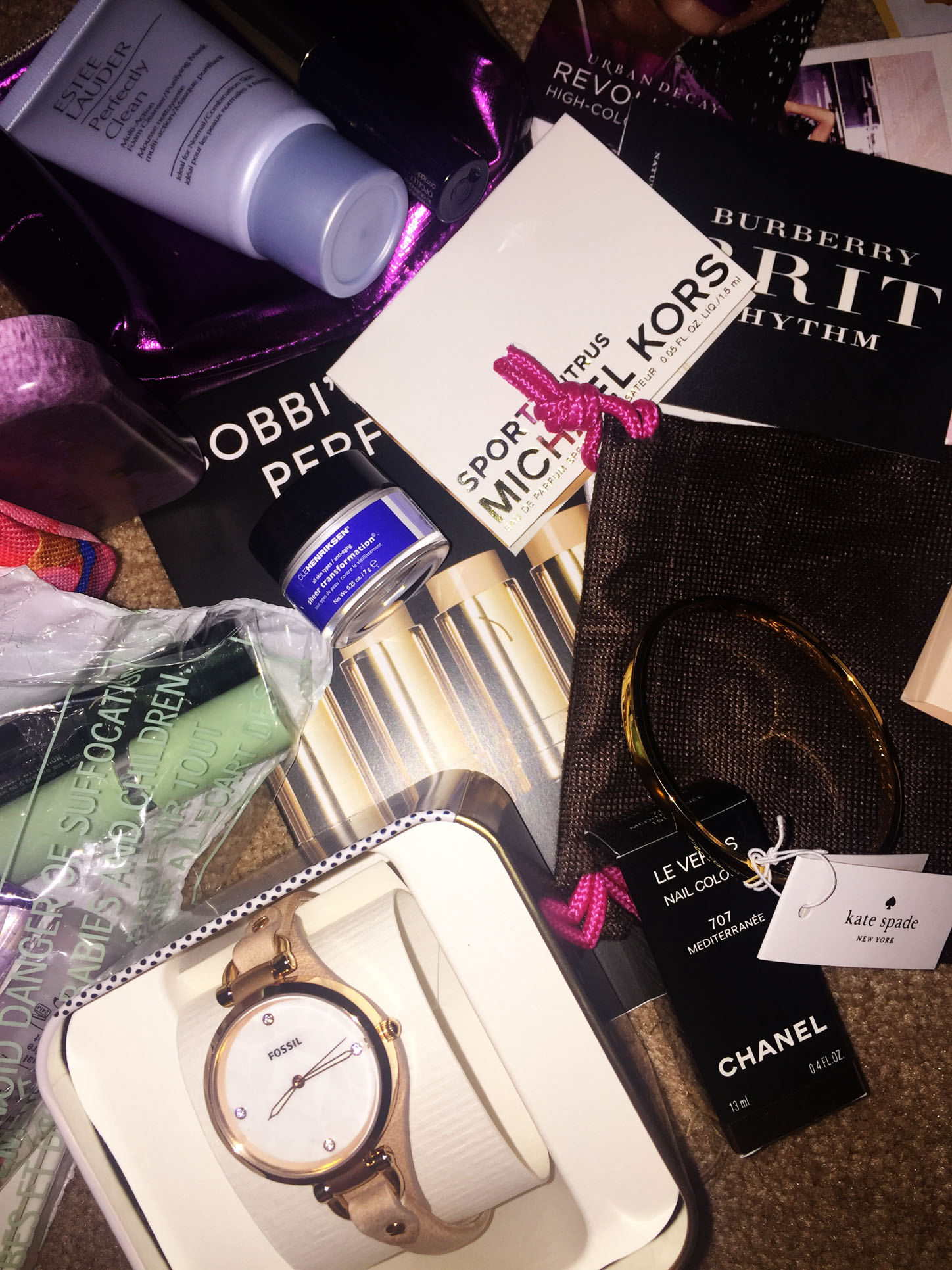 my fashion wants fan box fossil watch kate spade bracelet chanel nail polish estee lauder clinique urban decay