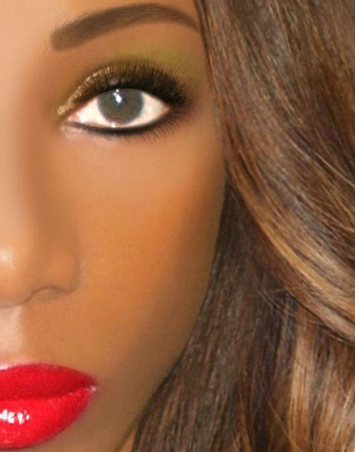 saturday makeup look red lips dramatic eyes rihanna hairstyle half face